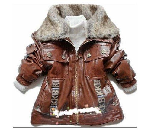 SOPO Baby Boys PU Leather Winter Jackets Fake Fur Collar Outwear 3-5Y Brown