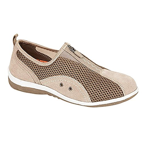 Boulevard - zapatilla baja mujer Taupe Textile Mesh/Leather