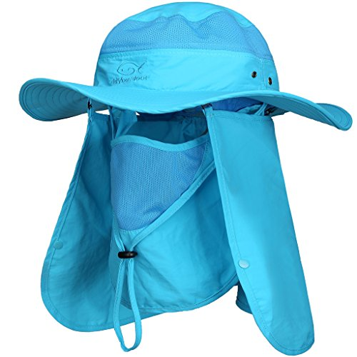 (DDYOUTDOOR Summer Outdoor Sun Protection Fishing Cap Neck Face Flap Hat Blue)