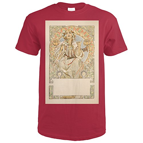 Slavia (before letters) Vintage Poster (artist: Mucha, Alphonse) France c. 1907 (Cardinal Red T-Shirt XX-Large)