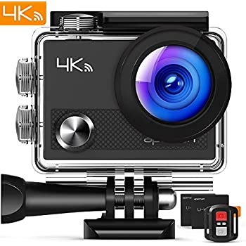 """APEMAN Action Camera 4K Wi-Fi Waterproof Underwater Camera Ultra Full HD Sport Cam 30M Diving with 2"""" LCD 170°Wide-angle/2.4G Remote Control/2 Rechargeable Batteries/20 Accessories Kits"""