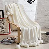 """iSunShine Cozy Cotton Cable Knitted Couch Cover Blanket with Pompoms, White, 47*70"""""""