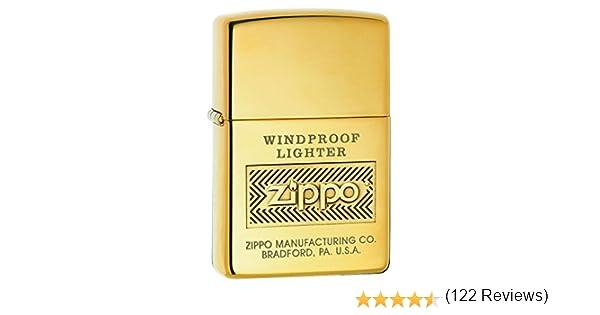Zippo Logo Mechero, Metal, High Polish Brass: Amazon.es: Hogar