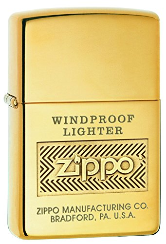 - Zippo Logo Pocket Lighter, High Polish Brass