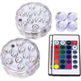 Underwater Submersible LED Lights Waterproof Remote Control Battery Operated Color Changing Suction Cup Floating Hot Tub Swimming Pool Pond Fountain Shower Bath Wedding Aquarium Accessories Starfish