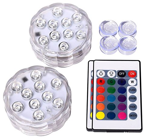 Underwater Submersible LED Lights Waterproof Remote Control Battery Operated Color Changing Suction Cup Floating Hot Tub Swimming Pool Pond Fountain Shower Bath Wedding Aquarium Accessories Starfish - Vase Wall Fountain