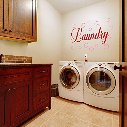 MairGwall Lettering Art Decal Laundry with Bubbles Wall Decal Laundry Room Sticker(21