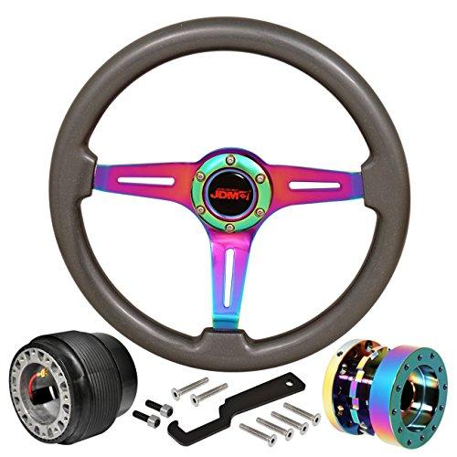 JDM Sport 345mm 6-Bolt Steering Wheel Gunmetal Wood + Hub Adapter + Neo Chrome Extender For Honda Civic Accord Upgrade Replacement High Performance