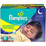 Pampers Swaddlers Overnights Disposable Diapers Size 6, 44 Count, SUPER (Packaging May Vary)