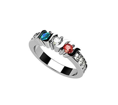 Central Diamond Center Nana S-Bar with Sides Mother s Ring 1 to 6 Simulated Birthstones in Sterling Silver or 10 Karat Solid Gold