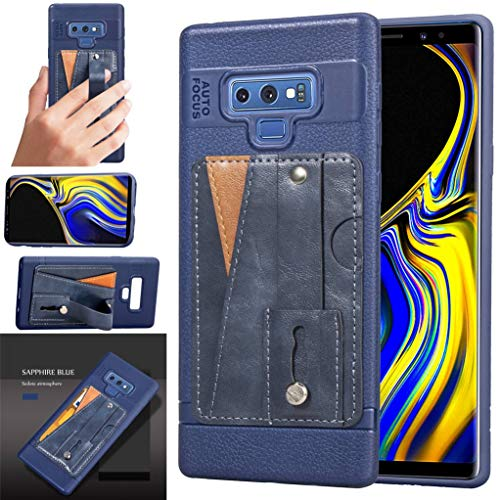 Galaxy Note 9 Case, Bunnyfan Business Style Soft TPU Leather Case Veneer Gluing ID Card Slot Stand Cover Wrist Strap Shell for Samsung Galaxy Note 9 (Blue)