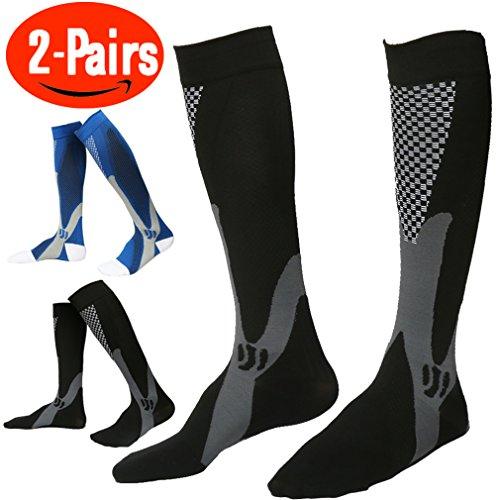 Compression Socks for Men ,(Pair Of 2) Running Socks ,Sport Socks for Running, Nurses,Shin Splints,Flight Travel,& Maternity Pregnancy.Boost Stamina, (L/XL ( adult8-15.5 / Men 8-14) by ANGELGG