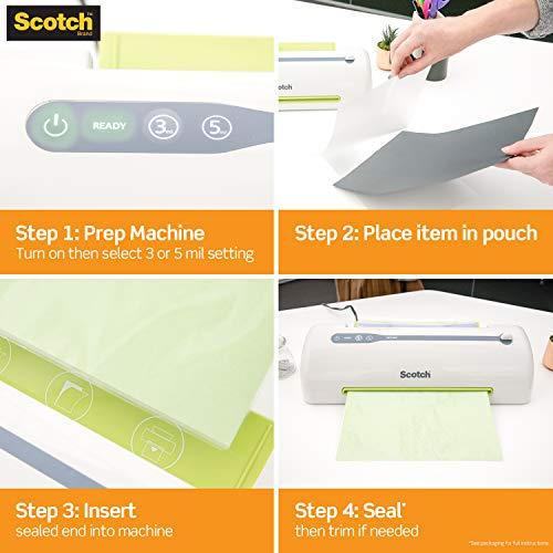 Scotch Thermal Laminating Pouches 8.9 x 11.4 Inches 3 mil, 100-Pack (TP3854-100)