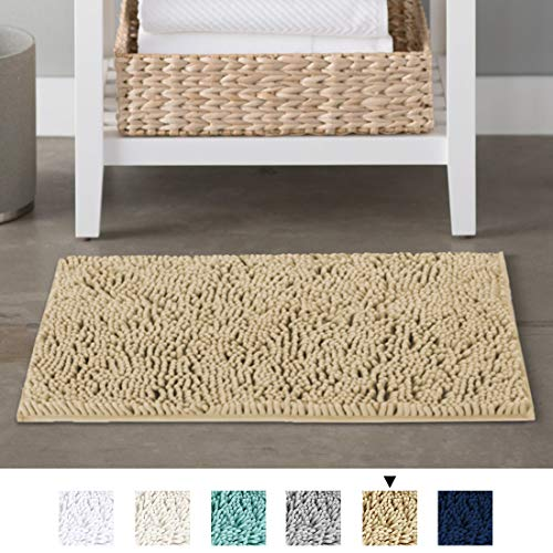 - H.VERSAILTEX Bath Mat Super Soft Bath Rug for Bathrooms Microfiber Chenille Plush Rugs for Powder Room Indoor Rugs for Entryway, 17 x 24 Inches, Beige