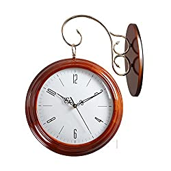 Solid wood double sided wall clock Living room creative two-sided clocks [large] Simple Woody Mute decorative clock-A