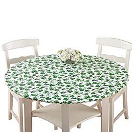 Patterned Fitted Table Cover with Soft Flannel Backing and Durable Wipe-Clean Vinyl Construction 5 Snug Fit, Cute Prints - Fitted tablecloth equipped with elasticized edges to create a snug, smooth fit; Comes in an assortment of fresh, fun patterns Durable Vinyl Construction - Made of PVC plastic and polyester which makes cleaning up after dinner a total breeze; Easily wipes clean in seconds Soft Backing - Has a soft flannel backing that allows you to effortlessly slide it over the table and protects the surface from damage