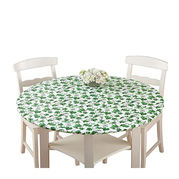 Patterned Fitted Table Cover with Soft Flannel Backing and Durable Wipe-Clean Vinyl Construction 1 Snug Fit, Cute Prints - Fitted tablecloth equipped with elasticized edges to create a snug, smooth fit; Comes in an assortment of fresh, fun patterns Durable Vinyl Construction - Made of PVC plastic and polyester which makes cleaning up after dinner a total breeze; Easily wipes clean in seconds Soft Backing - Has a soft flannel backing that allows you to effortlessly slide it over the table and protects the surface from damage