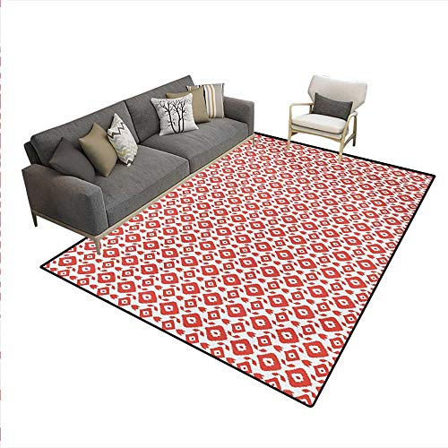 (Floor Mat,Ethnic Inspirations Geometrical Art Abstract Shapes Mexican Aztec South American,3D Printing Area Rug,Vermilion White,6'x9')