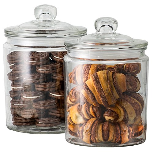 (KooK Glass Storage Canister, Clear Jar, With Clear Glass Lid- 1/2 Gallon (Set of 2))