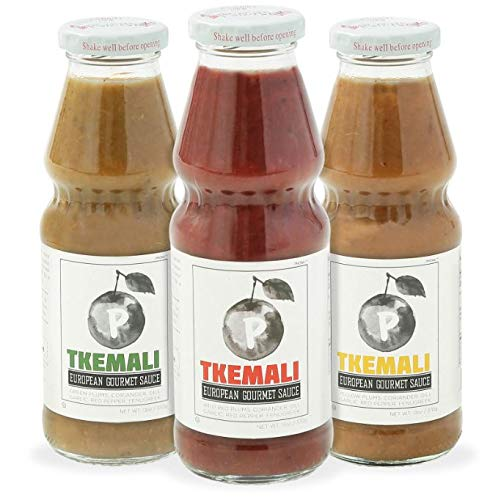 PMONA Tkemali Georgian European Gourmet Sauces, 13 oz Bottle, 3Count Variety Pack Red, Green,Yellow Sour Plum Sauces, Gluten-Free, Kosher Certified Condiments, Preservative Free NEW & IMPROVED RECIPE