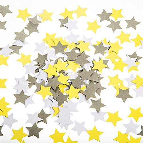 (MOWO Star Paper Confetti Table Decor and Wedding Party Decor, 1.2 inch in Diameter (Yellow,Grey,White,200pc))