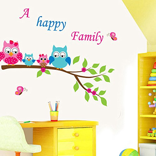 Cartoon Animals Wall Stickers Butterflies Trees Flowers