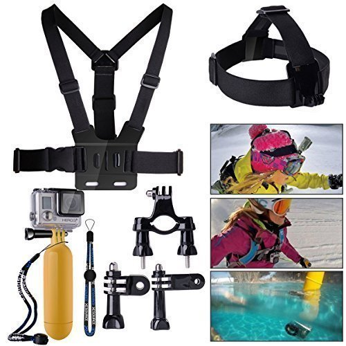 XCSOURCE® Bundle Accessories Set Kit 10 in 1 Handlebar or Seatpost Mount + Chest Strap + Head Strap + Yellow Hand Grip Floating Mount + Strap + 2 x Joint + 3 x Screws For Gopro Hero 1 2 3 3+ 4 OS59