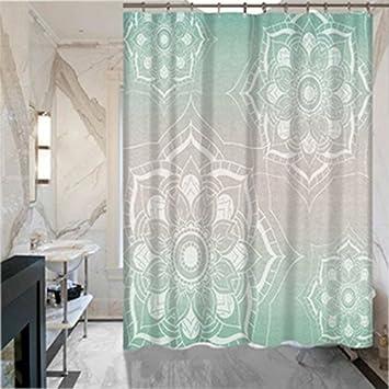 Mural Art Shower Curtain Flower Mandala Pattern Bath Waterproof Polyester Fabric Digital Printing Bathroom