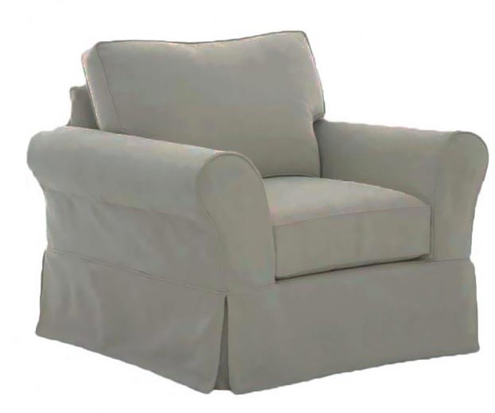 The Cotton Sofa Cover Only Fits Pottery Barn PB Comfort Roll Arm Armchair. A Durable Chair Slipcover Replacement (Box Edge)