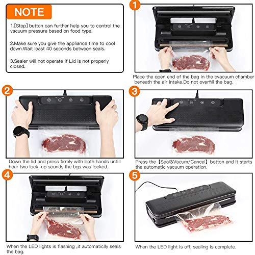 LIUHUI Food Vacuum Sealer, 4 in 1 Automatic Food Vacuum Sealer Machine for Dry and Moist Fresh Food Saver, Led Indicator, with 10pcs Sealer Bags