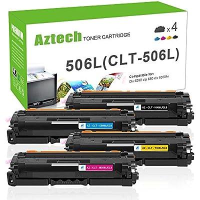 Aztech Compatible Toner Cartridge Replacement for Samsung CLT-K506L CLT-C506L CLT-M506L CLT-Y506L 506L Toner for Samsung CLP-680 CLP-680ND Samsung CLX-6260 CLX-6260FW CLX-6260ND CLX-6260FR CLX-6260FD