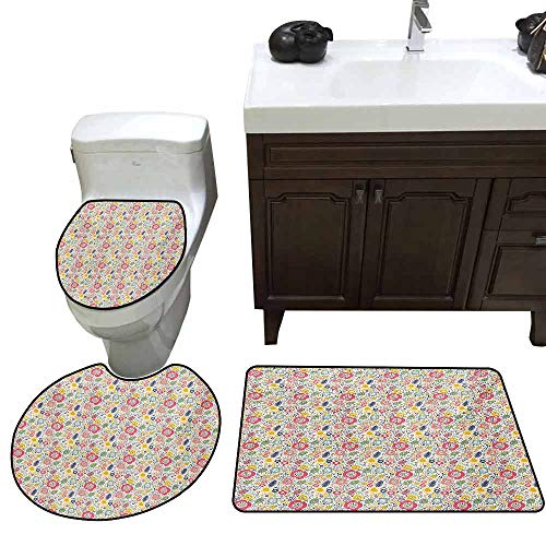 - Set of 3 Sets of Shower mats Colorful Summer Nature Pattern with Childish Doodle of Bugs Beetles Dots Flowers and Sun Printed Multicolor