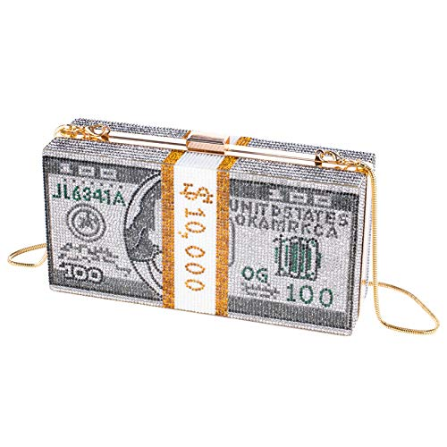 Stack of Cash Dollars Crystal Clutch Purses Women Diamond Evening Bags Party Cocktail Rhinestone Handbags Wedding Dinner…