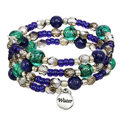 (Elements Triple Coil Gemstone & Crystal Beaded Bracelets (Water Element))