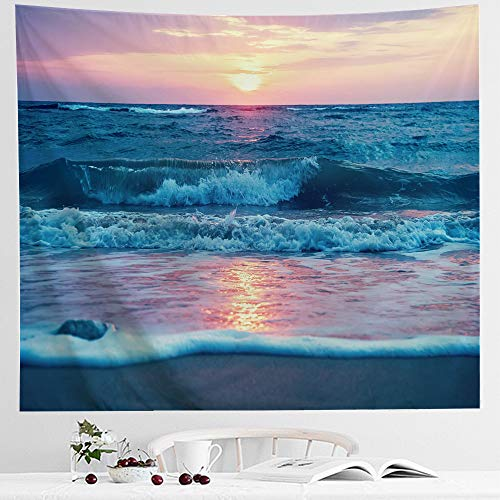(IcosaMro Ocean Tapestry Wall Hanging, Sea Beach Wave Sun Cloud Landscape Scenery Nature Wall Art [Double-Folded Hems] Bohemian Home Decor for Bedroom, Dorm, College, Living Room, 51x60, Blue)