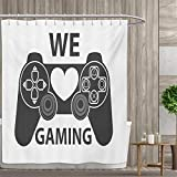 smallfly Gamer Shower Curtains Fabric We Love Gaming Quote Greyscale Controller Design with Heart in The Middle Bathroom Decor Set with Hooks 66''x72'' Charcoal Grey White