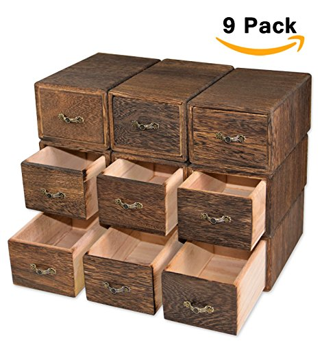 9 Sets Wooden Box Organizer Storage Container Drawer Bin Case Dresser Makeup Treasure Herb Rustic Indian Wood for Essential Oils Pill Nail Polish Cosmetic Tea Bag Chinese Medicine Cabinet Keepsake - Organizer Cube Trunk
