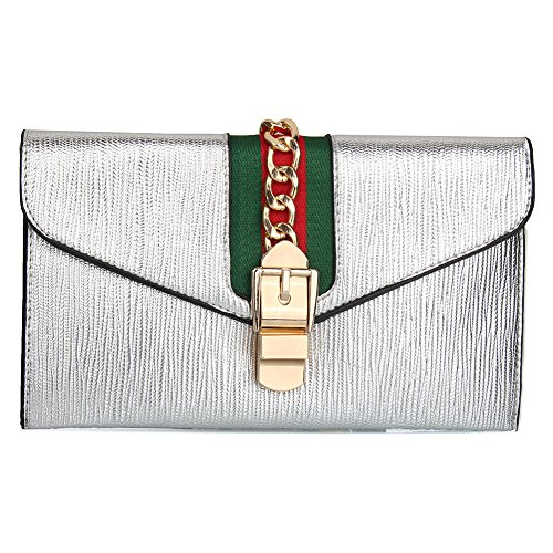 Bag Clutch Evening Body Silver with Strap Purse Designer Cross KNUS Adjustable Bags Wristlet Envelope 4FzXn