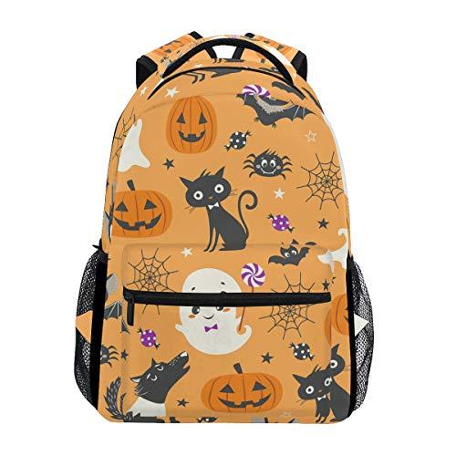 Backpack Women Men Teen Girl Boy School Bag Purse Happy Halloween Pumpkin Wolf Bookbag Casual Daypack Supplies for $<!--$24.99-->