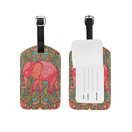Paisley Elephant Travel Leather Luggage Baggage Suitcases Tags Label Set of 2 ()