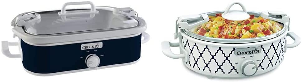 Crock-Pot SCCPCCM350-BL Manual Slow Cooker, Navy Blue & Crockpot 2.5-Quart Mini Casserole Crock Slow Cooker, White/Blue