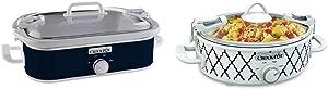 Crock-Pot SCCPCCM350-BL Manual Slow Cooker, Navy Blue & Crockpot 2.5-Quart Mini Casserole Crock Slow Cooker, White/Blue
