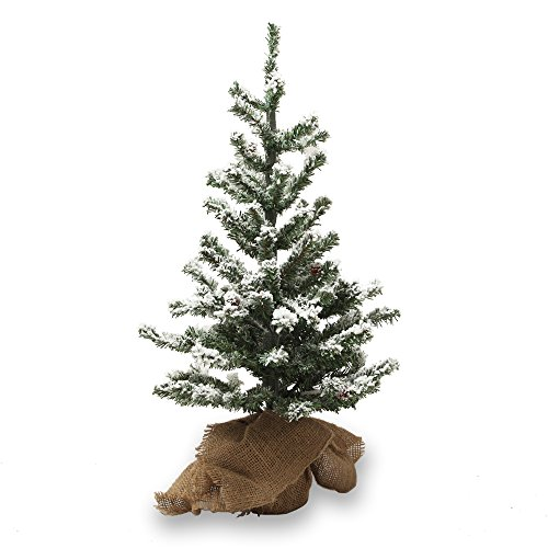 26 Inch Small Artificial Christmas Tree Snow Tree with Wood Stand Flocked Snow Artificial Flocked Christmas Trees