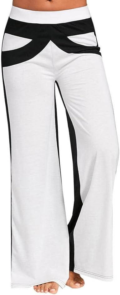 Moonuy Casual Femmes /él/égant Patchwork Pantalon Mid Waisted Pantalon de Yoga /à Jambe Large Lady Simple Noir et Blanc Couture Pantalons Jambes Larges de Yoga Wide Leg Pants