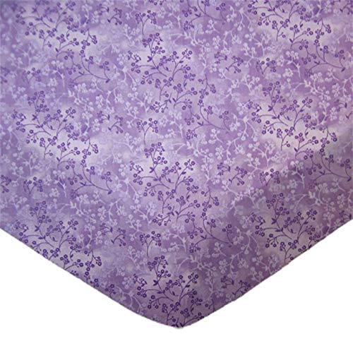 (SheetWorld Fitted 100% Cotton Percale Cradle Sheet 18 x 36, Lavender Blossoms, Made in USA)