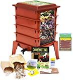 "Worm Factory 360 Worm Composting Bin + Bonus ""What Can Red Wigglers Eat?"" Infographic Refrigerator Magnet (Terracotta) - Vermicomposting Container System - Live Worm Farm Starter Kit for Kids & Adults"