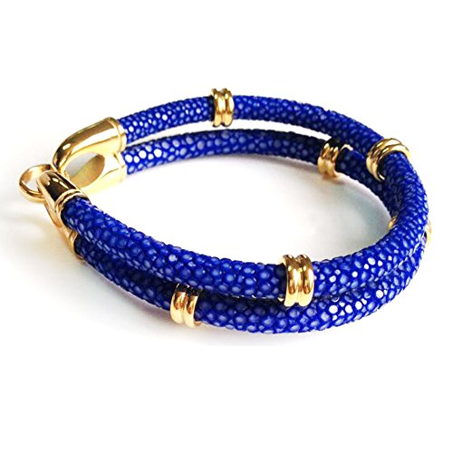 Ray Leather - BeiChong Stingray Leather with Silver Stainless Steel Hook Clasp Bracelet Bangle for Men (blue gold)