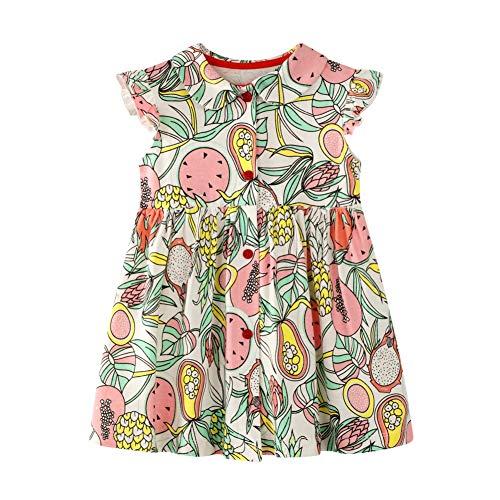 HILEELANG Little Girl Angel Sleeve Cotton Button Open Front Doll Collar Dress Sleeveless Fruit Summer Dress ()