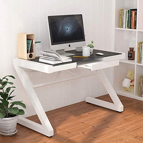 Mecor Z Shape Computer Desk Modern Fashion Glass Office Laptop Desk Multi Functional Study Writing Table Personal Workstation Home Black1