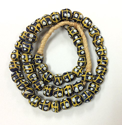 Black With yellow and blue Eye African Recycled Krobo Glass Beads - Strand of Eco-Friendly Fair Trade Beads from - African Beads Trade